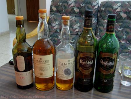 Glenfiddich 12, Glenfiddich 15, Talisker 10, Talisker 18, LAgavulin16