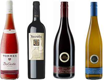 Torres Rosado & Nerola Syrah, Kim Crawford Marlborough Pinot Noir and DryRiesling