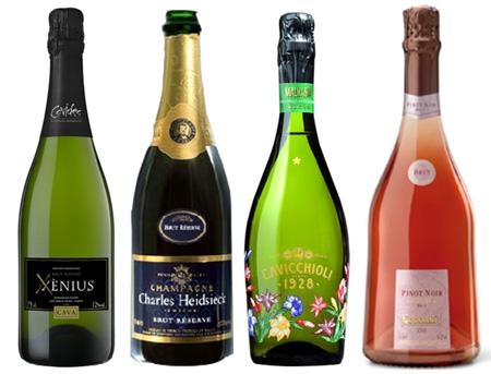 מבעבעים: Covides Xenius Cava Brut Nature, Charles Heidsieck Champagne Brut Reserva, Cavicchioli Malvasia Lambrusco, Codorniu Pinot Noir RoseBrut